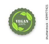 vegan product round label ... | Shutterstock .eps vector #439977421