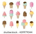 funny vector ice cream set.... | Shutterstock .eps vector #439979344