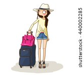 cute girl go to travel. fashion ... | Shutterstock .eps vector #440002285