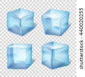 transparent blue ice cubes on... | Shutterstock .eps vector #440020255