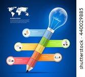 design pencil with lightbulb... | Shutterstock .eps vector #440029885