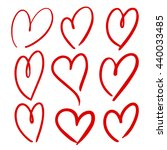 set of hand drawn hearts.... | Shutterstock .eps vector #440033485