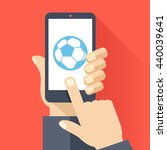 football app flat concept. hand ...