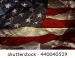 closeup of grunge american flag | Shutterstock . vector #440040529