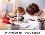 my cute son. young mother... | Shutterstock . vector #440053585