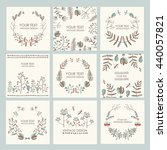vector set  floral wreath and... | Shutterstock .eps vector #440057821