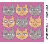 set of cute cats. emoticons... | Shutterstock .eps vector #440058865