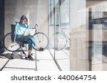 blogger hipster use notebook... | Shutterstock . vector #440064754