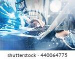 work process modern studio loft.... | Shutterstock . vector #440064775
