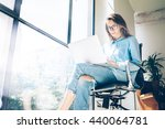 hipster woman use laptop huge... | Shutterstock . vector #440064781