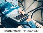 work process modern studio loft.... | Shutterstock . vector #440064937