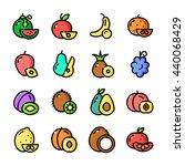 thin line fruits icons set ...