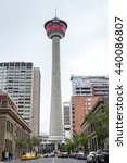 Small photo of CALGARY, CANADA - June 14: The Calgary Tower stands aloof in downtown Calgary June 14, 2016. Built in 1968, the iconic 627 feet tall observation tower was originally called the Husky Tower.