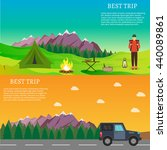 hiking and outdoor set flat... | Shutterstock .eps vector #440089861