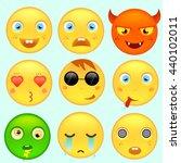 set of emoticons.nine emoticons ... | Shutterstock .eps vector #440102011