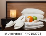 white towels and slippers in... | Shutterstock . vector #440103775