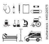medical equipment icons set ...