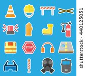 flat job safety equipment... | Shutterstock .eps vector #440125051