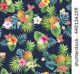 hawaiian seamless pattern with... | Shutterstock .eps vector #440136109