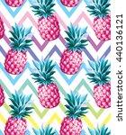 pineapple seamless pattern on... | Shutterstock .eps vector #440136121