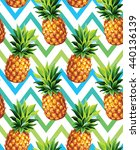 pineapple seamless pattern on... | Shutterstock .eps vector #440136139
