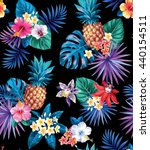 seamless tropical pattern with... | Shutterstock .eps vector #440154511