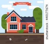 modern house. part of the rural ... | Shutterstock .eps vector #440177674