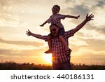 father and son playing at the... | Shutterstock . vector #440186131