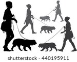 Stock photo a woman walking with a dog on a leash silhouette on a white background 440195911