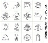 energy and ecology line icons....