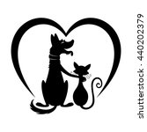 cat and dog  and a sign of... | Shutterstock .eps vector #440202379