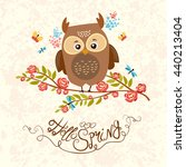 cute  spring owl sitting on a... | Shutterstock . vector #440213404