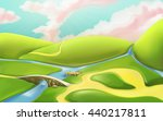 3d cartoon nature landscape... | Shutterstock .eps vector #440217811