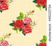 seamless floral pattern rose... | Shutterstock .eps vector #440225734
