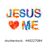jesus loves me | Shutterstock .eps vector #440227084