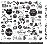 flat black set of 80 hipster... | Shutterstock .eps vector #440244871