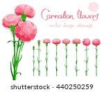 vector set isolated of flowers... | Shutterstock .eps vector #440250259