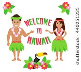 welcome to hawaii. hawaiian man ... | Shutterstock .eps vector #440251225