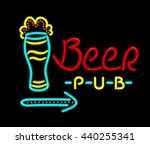 neon sign beer pub on a black... | Shutterstock . vector #440255341