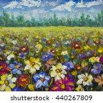 Flowers Field. Impressionist...
