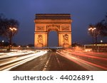 Arc de Triomphe & champs elysees, Paris, at night - stock photo