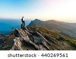 businessman success hiking on... | Shutterstock . vector #440269561