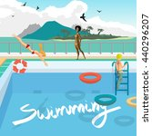 outdoor swimming pool on the... | Shutterstock .eps vector #440296207