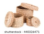 Three Wicker Boxes Isolated On...
