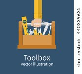 repairman holding toolbox....