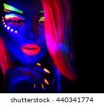 fashion model woman in neon... | Shutterstock . vector #440341774