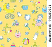 baby clothes and toys hand... | Shutterstock . vector #440350921