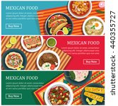mexican food web banner flat... | Shutterstock .eps vector #440355727