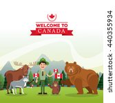 forest animals. canada icon.... | Shutterstock .eps vector #440355934