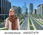 girl in a hijab on city... | Shutterstock . vector #440357479